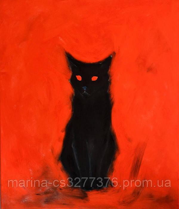 Картина Киса пришла, 60х70 см, холст, масло, галерейная натяжка, современная интерьерная живопись