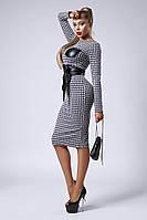 Облегающее деловое и офисное теплое платье весна-осень с широким поясом размеры 44