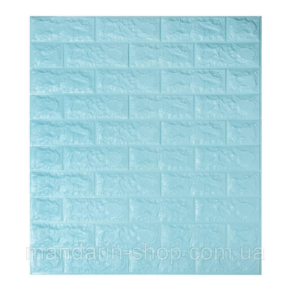 Самоклеющиеся обои Декоративная 3D панель ПВХ 1шт, голубой кирпич (бирюза)