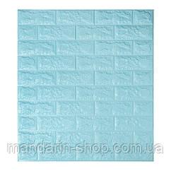 Самоклеющиеся обои Декоративная 3D панель ПВХ 1шт, голубой кирпич (бирюза) 7 мм