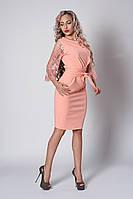 Персиковое нарядное облегающее платье с кружевными рукавами размер  54