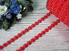 Декоративная лента с полубусинами цветок красная
