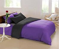 Черно-фиолетовое постельное постельное белье. Семейный комплект