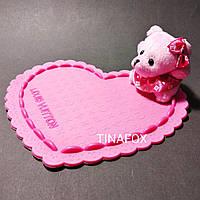 Антискользящий коврик силиконовый розовое сердце