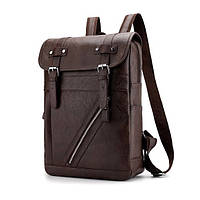 Рюкзак городской Deep Person из кожи темно-коричневый (1881)