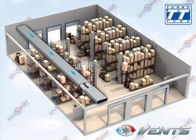 Вариант использования вентилятора Вентс ТТ Про на складе (последовательно-параллельное включение канальных вентиляторов)