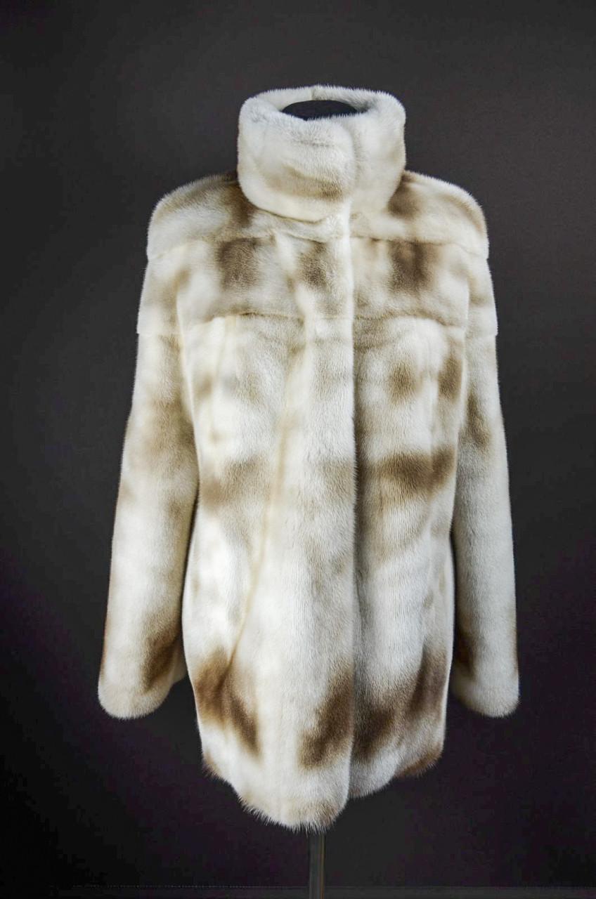 Норковая шуба,уникальный натуральный цвет Marble