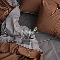 Однотонное коричнево-серое постельное белье MDreams Евро 220х240