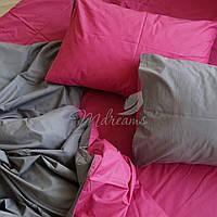 Однотонное малиново-серое постельное белье MDreams Евро 220х240
