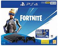 Ігрова приставка Sony PlayStation 4 Slim 500GB + Fortnite + DualShock 4 консоль, фото 1