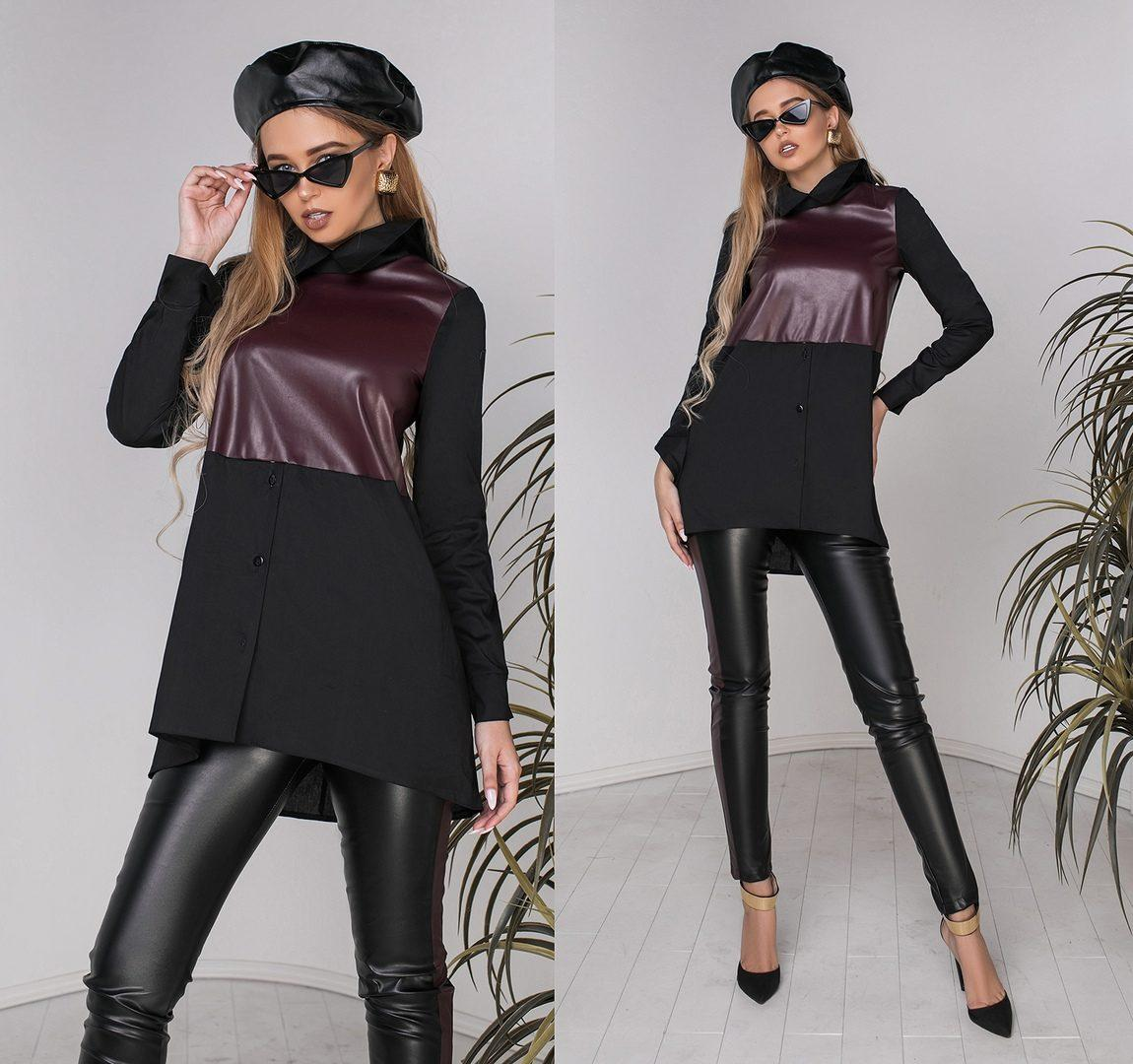 """Трендовый женский брючный костюм блуза+брюки ткань """"Коттон с эко-кожей"""" черный/баклажан, размер 42 норма"""