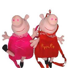 Мягкий рюкзак Свинка велюр 33*21 см
