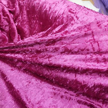 Ткань бархат стрейч мрамор малиновый, фото 2