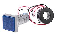 Вольтметр/амперметр AC 22мм 60-500В 0-100А - синій, фото 1