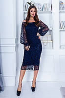 Красивое женское силуэтное платье с отделкой сетки с узором и открытым декольте  42, 44, 46