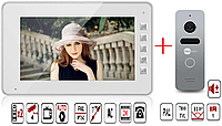 Комплект ВидеоДомофон Qualvision QV-IDS4734M White / Вызывная панель NeoLight Solo Silver (Угол обзора 110°)