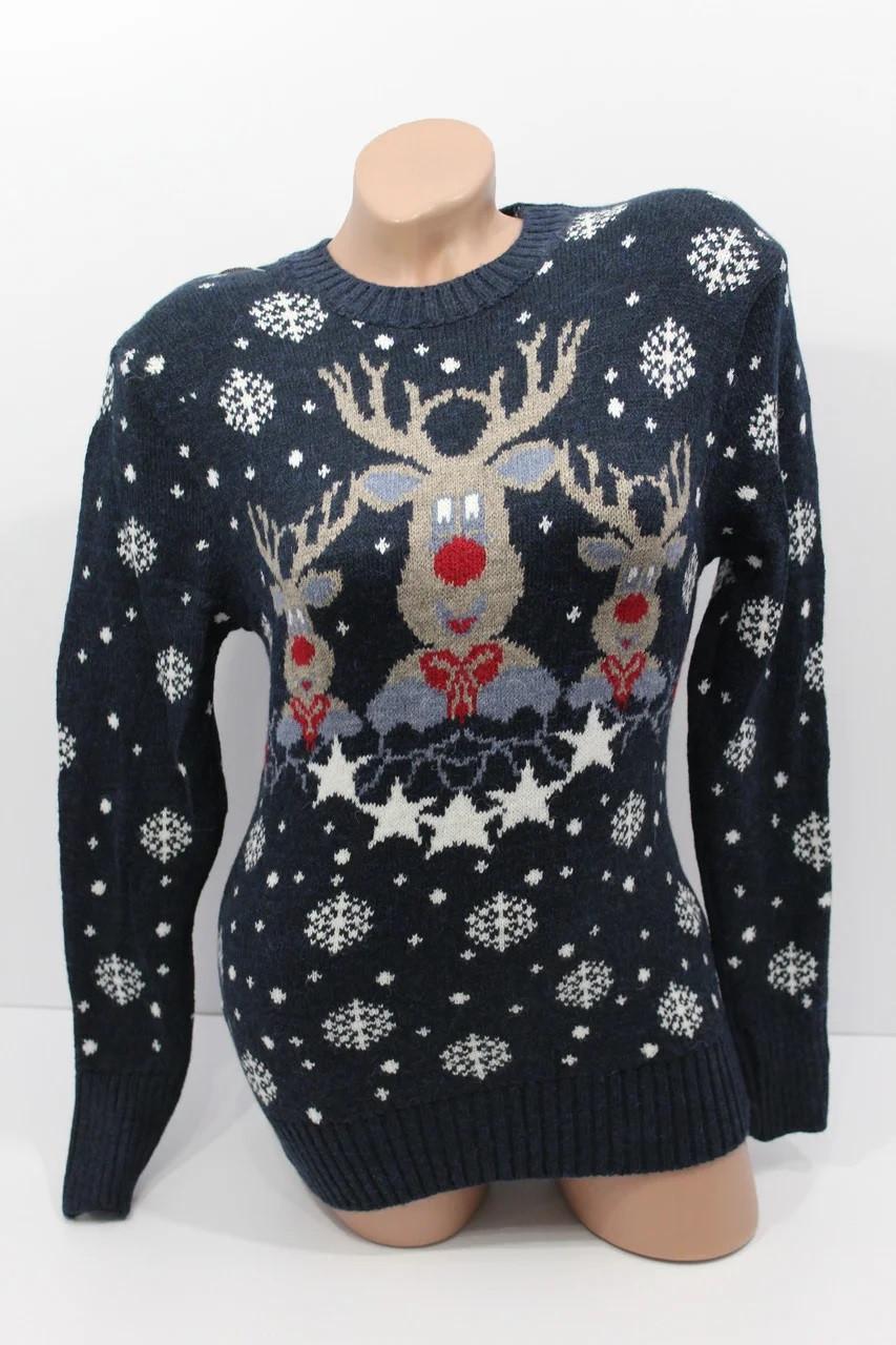 Вязаный теплый свитер с оленями (белый 42-46)