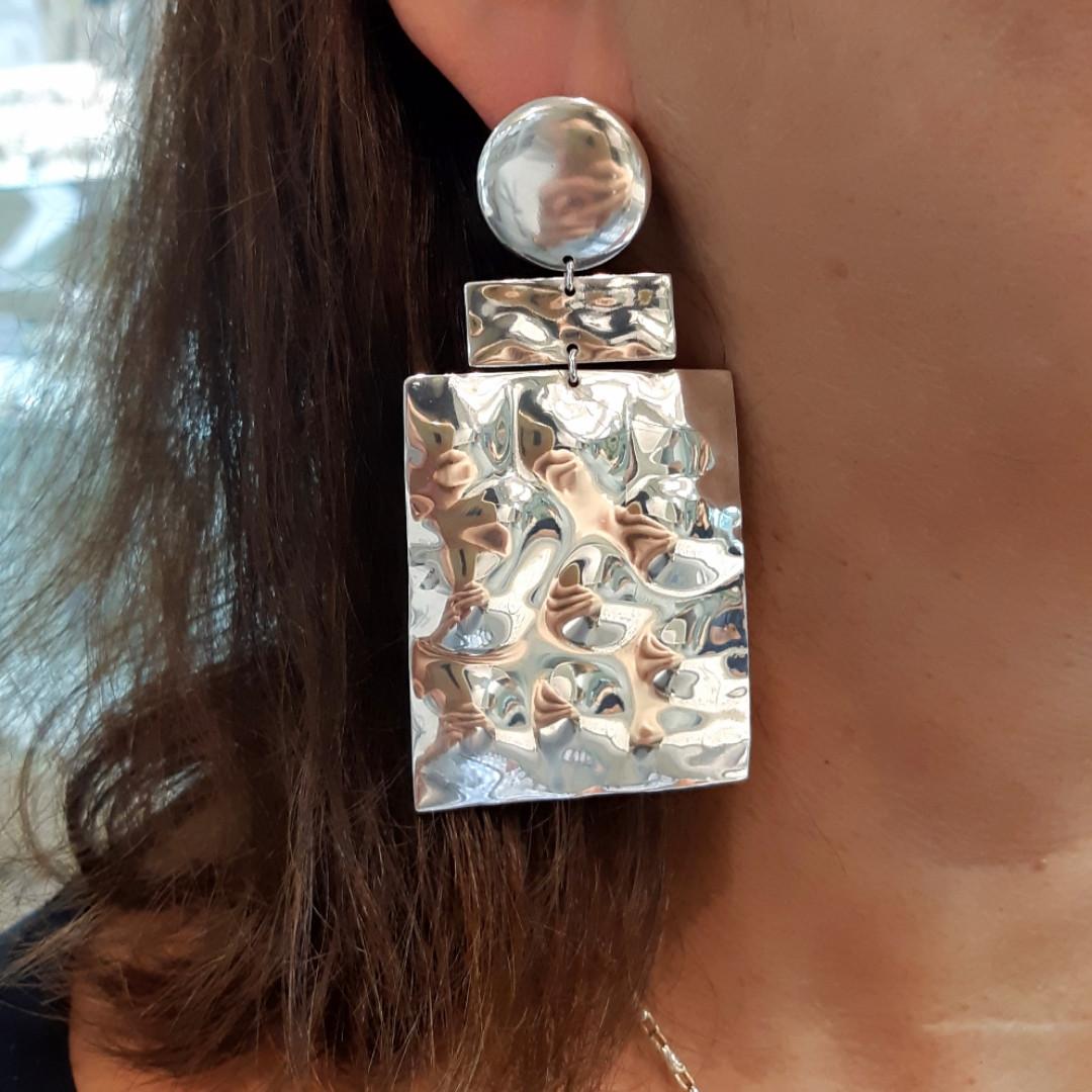 Огромные брендовые серебряные серьги без камней- Длинные серебряные серьги