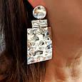 Огромные брендовые серебряные серьги без камней- Длинные серебряные серьги, фото 3