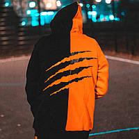 Теплое худи унисекс Пушка Огонь Scratch черно-оранжевое