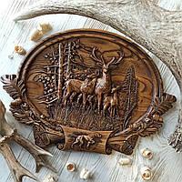 """Картина резная из дерева. """"Оленья семья"""""""
