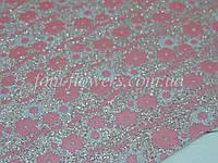 Экокожа, мелкие блестки и цветы. Цвет Розовый . Размер 19*30см