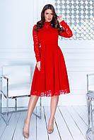 Красивое женское приталенное платье с отделкой сетки с узором и открытым декольте  42, 44, 46