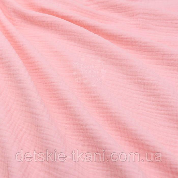 Муслин двухслойный жатый однотонного пудрового цвета, ширина 135 см
