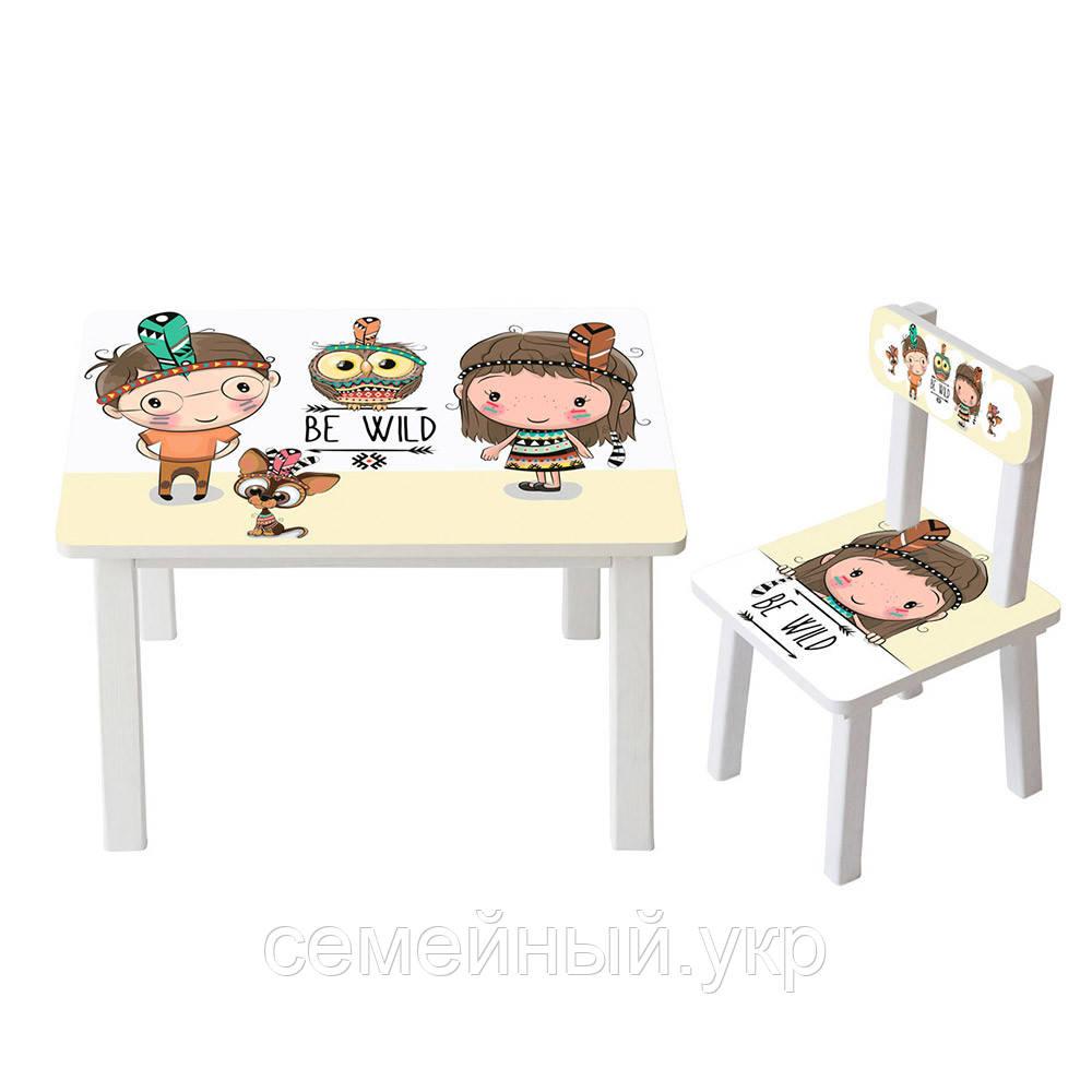 Детский столик со стульчиком Bambi. ДСП. Краски на водной основе. BSM2K-07