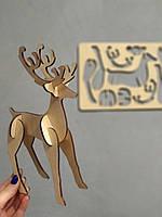 3Д Пазл олень Новогодний олень Силуеты животных Материал дерево Декор под елку на новый год Раскладной олень
