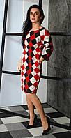Полуприталенное красное платье в ромбы 48-50