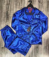Пижама женская рубашка и штаны из атласа 031-синий.
