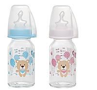 Скляна Пляшка (Мікс) 125 мл + Соска Ортодонтична, Антиколікова, Латекс (від 0-6 міс) S