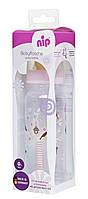 Пляшка п/п 250 мл (Дівчинка) Соска Ортодонтична, Антиколікова, Латекс (від 6 міс) М (Середній Потік)