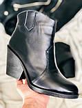 Женские черные кожаные ботинки на каблуке, фото 2