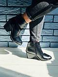 Женские черные кожаные ботинки на каблуке, фото 3