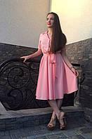 Однотонное пудровое женское платье миди в размерах 44,46,48,50