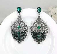 Серьги висячие бижутерия, модные серьги с зелёными камнями