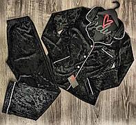 Черная велюровая пижама штаны и рубашка  с кантом, теплые пижамы.