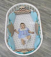 Набор постельный для круглой кроватки Облака 6 ел, бирюзово-кофейный