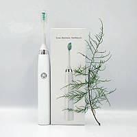 Электрическая зубная щетка Sonic Electric 601 звуковая многофункциональная водостойкая Белая (s10)