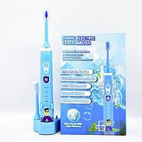 Электрическая детская зубная щетка Sonic Electric 603 звуковая многофункциональная водостойкая голубая
