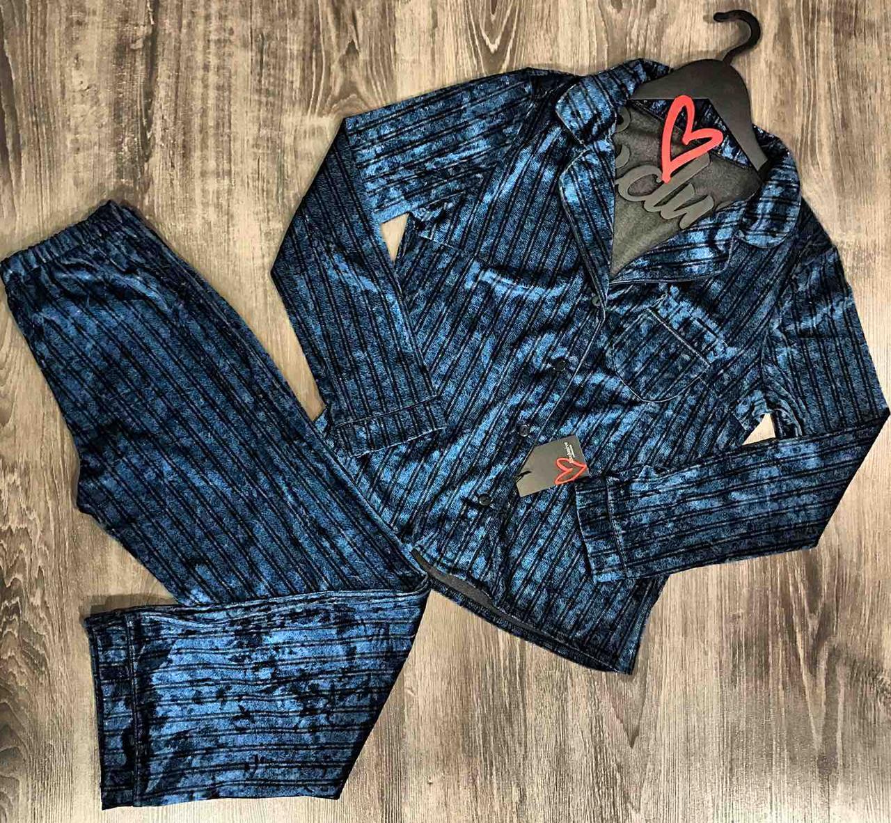 Теплая велюровая пижама штаны и рубашка с длинным рукавом 029.