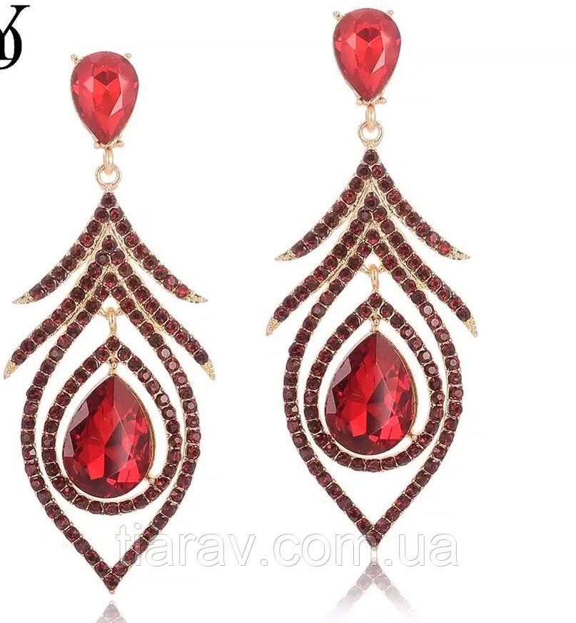 Сережки з червоними камінцями, біжутерія, весільні сережки