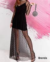 Очень красивое платье из креп дайвинга с накидкой сетка флок в горошек, глубоким вырезом  (42-46)