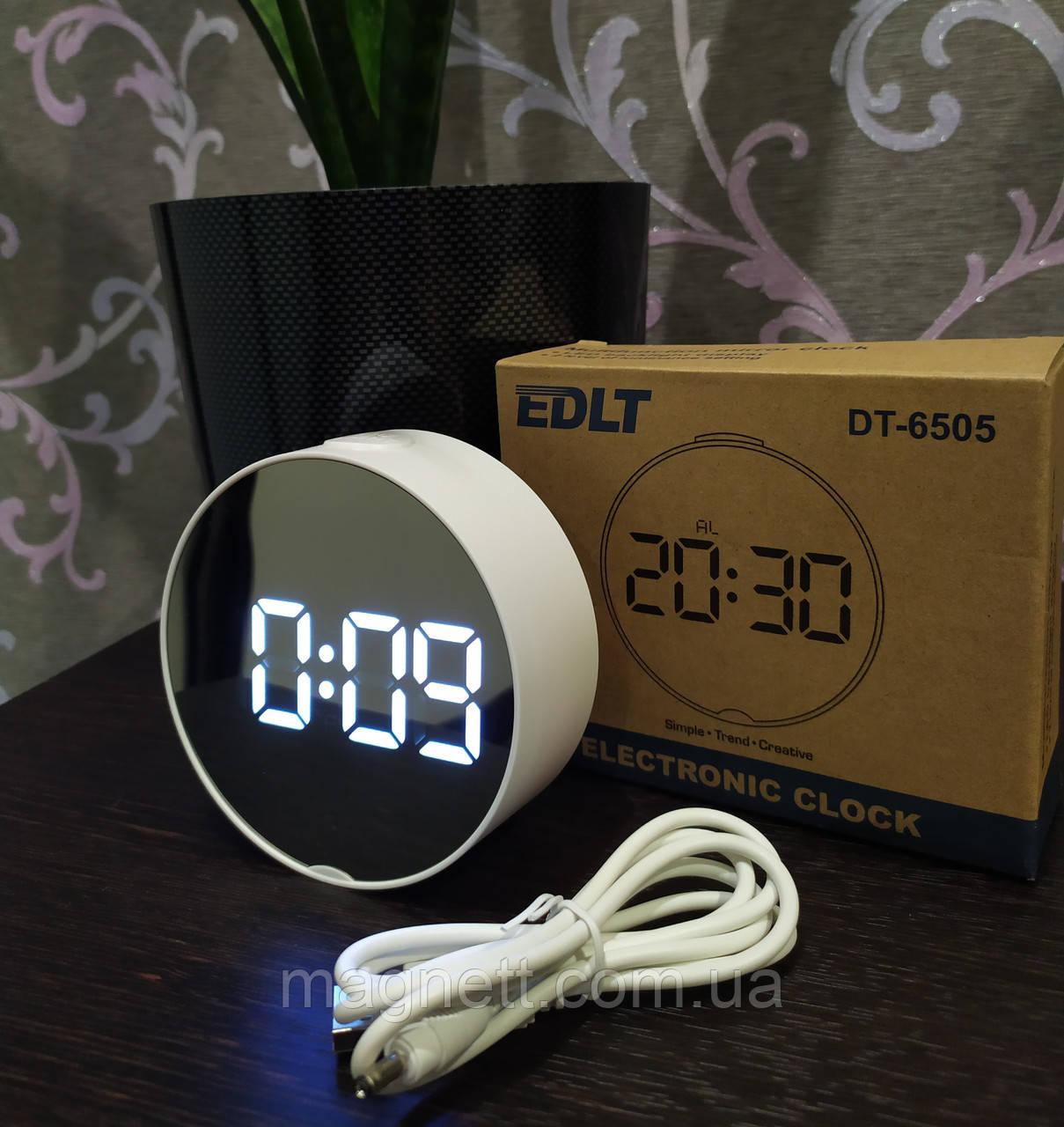 Зеркальные электронные LED часы настольные с белой подсветкой и термометром EDLT DT-6505 белый