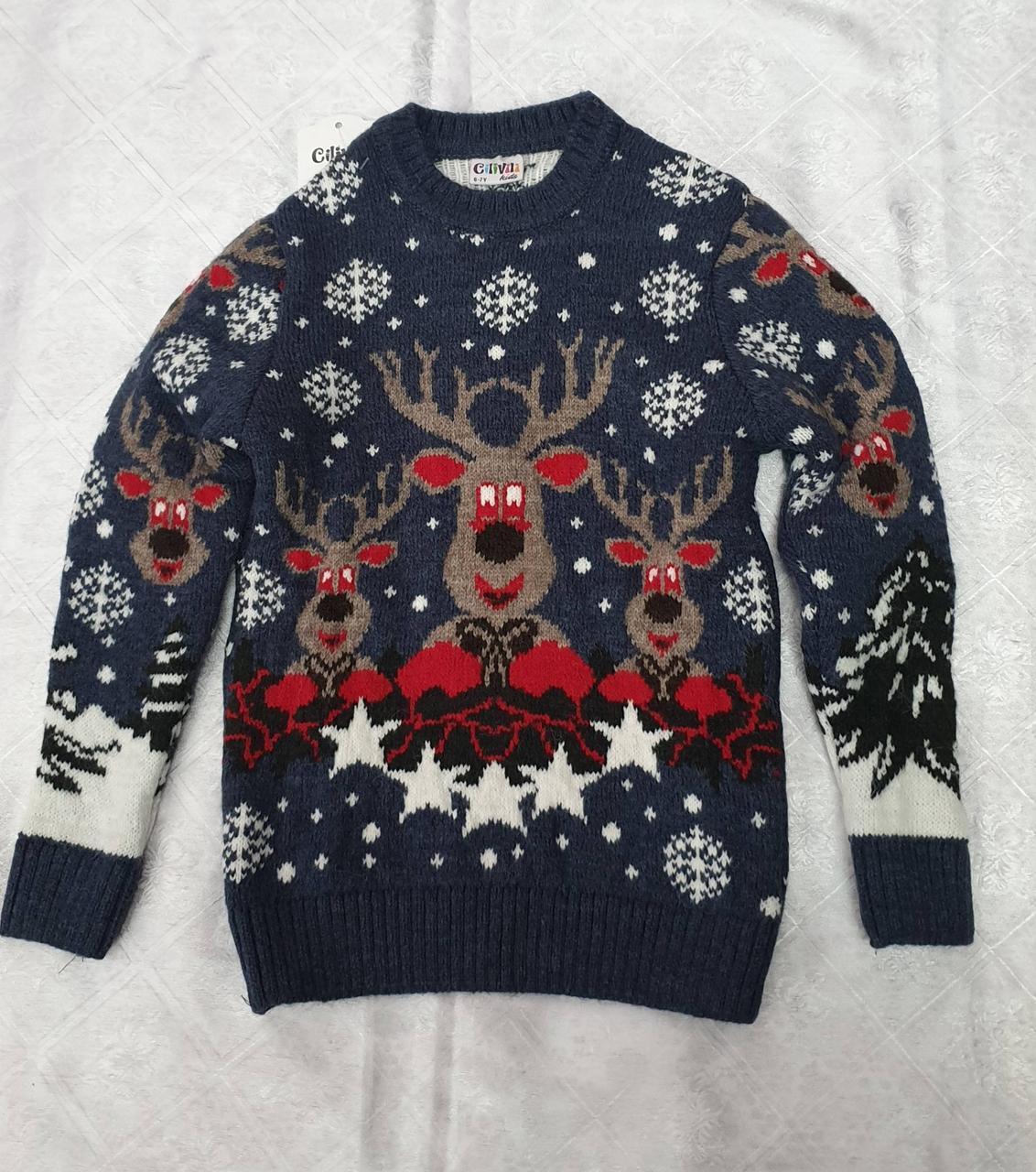 Вязаный свитер с оленями для девочек Индиго