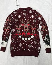 Вязаный свитер с оленями для девочек Индиго, фото 3