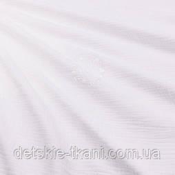 Муслин жатый однотонный двухслойный белого цвета, ширина 135 см