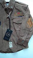 Рубашка вельветовая с налокотниками, одежда для мальчиков 116-140